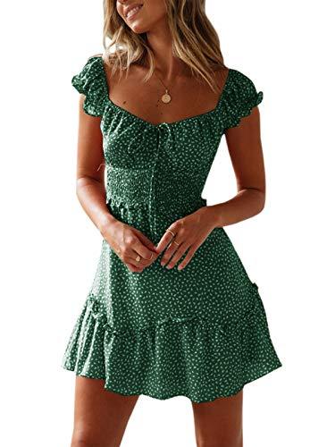 Ybenlover Damen Blumen Sommerkleid High Waist Volant Kleid Vintage Minikleid Strandkleid (Dunkelgrün, l)