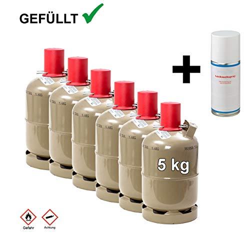 CAGO 6 x Propan-Gas-Flasche 5kg gefüllt, voll, inkl. Lecksuchspray für Camping, Gasgrill, Gaskocher