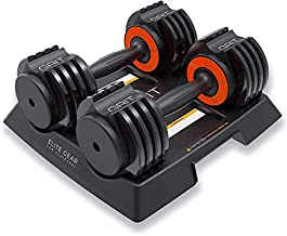 Grit Elite Gear 2.5 - 12.5 Pound Adjustable Dumbbells Set, Pair of Fast Adjusting Free Weights for Your Home Gym - Easy Removable Plates with Tray (25lb total)