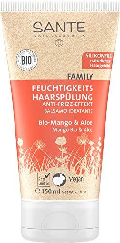 SANTE Naturkosmetik Feuchtigkeits Haarspülung Bio-Mango and Aloe, Fruchtiger Duft, Gesundes Haar, Natürliche Spülung ohne Silikon, Vegan, Conditioner 150g