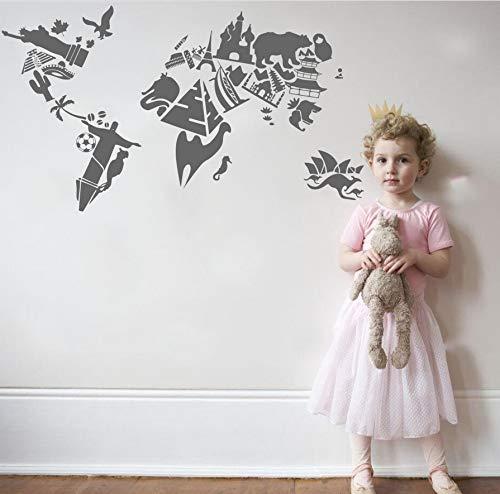 zwyluck 3D vinyl sticker World Map Luoghi beroemde VS Russische Australië symbool Wall Deca slaapkamer woonkamer Decal 57 x 103 cm