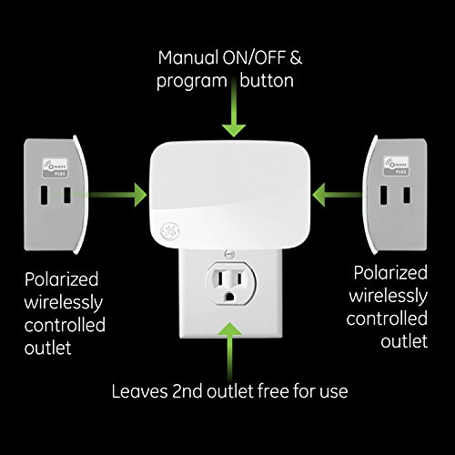 GE 14280 Enbrighten Z-Wave Plus Smart Dimmer Plug-In, 2 Simultaneously Controlled ZWave Outlets, Works with Alexa, Google Assistant, Repeater/Range Extender Hub Required, White