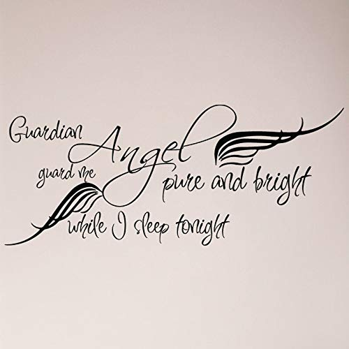 Sticker mural avec inscription « Guardian Angel Pure and Bright Guard Me while I Sleep Tonight »