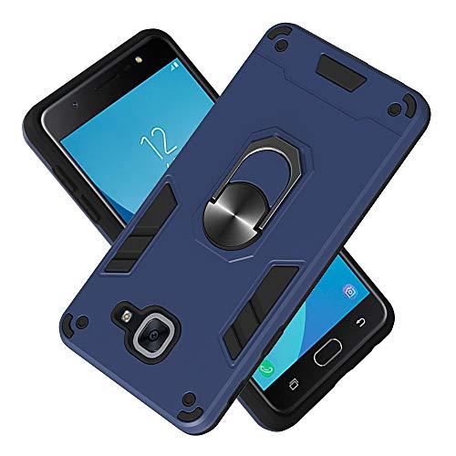 Armure Coque Samsung Galaxy J7 Max, Boîtier PC + TPU Double Layer Housse résistant aux Chocs avec Support à Anneau Rotatif à 360 degrés (Bleu Royal)