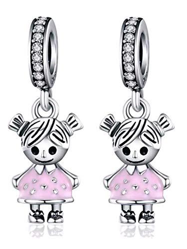 Marni's - Pareja de niñas - Charms originales Plata compatibles con Pandora. Regalos para tu madre - 2 hermanas - dos hijas - Cumpleaños mujer. Colgantes mujer plata para pulseras y collares