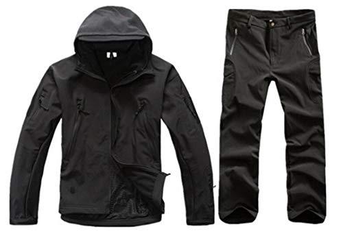 Men Outdoor Veste Softshell imperméable Costume Camouflage Militaire Randonnée Chasse Tactique Fleece Veste et Pantalon Black XL