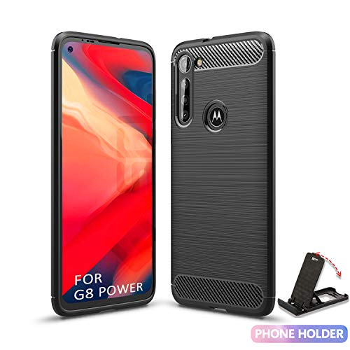 SCL Moto G8 Power Hülle Motorola G8 Power Hülle, [Schwarz] Handyhülle Exquisite Serie-Carbon Design Schutzhülle mit Anti-Kratzer & Anti-Stoß Absorbtion Technologie