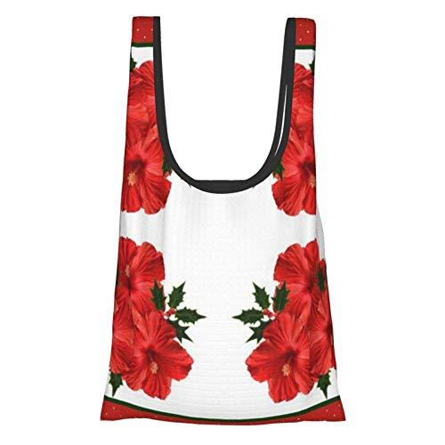 Frohe Weihnachten Hibiskus Stechpalme Feiertag Rot & Grün Thema Praktisch, Mode, Wiederverwendbare Umweltfreundliche Einkaufstasche.