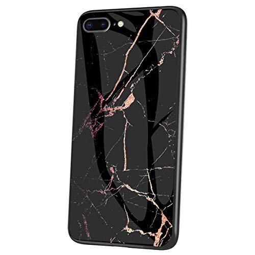 Felfy Kompatibel mit iPhone 8 Plus Hülle Schwarz,Kompatibel mit iPhone 7 Plus Handyhülle Gehärtetes Glas Back Case Marmor Muster Schutzhülle TPU Silikon & Glas Hart Case Kratzfest Tasche Cover
