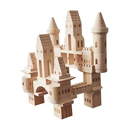 AKlamater Folding Princess Castle, Wooden Castle Blocks Logs, Building Block Toys, Girls, Babies, Infants, Children's Castle Construction, Educational Toys