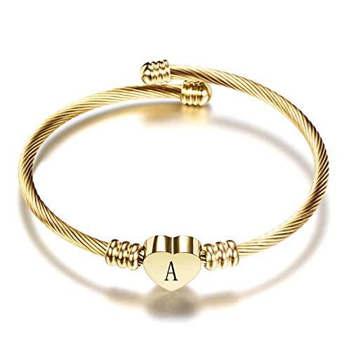 aolongwl Pulsera de moda para niñas de acero inoxidable con forma de letra de alfabeto inicial de acero inoxidable para mujeres