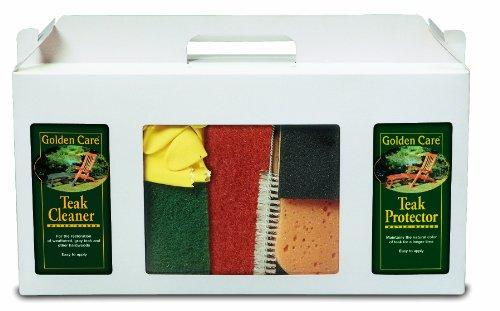 Golden Care Teak 3-in-1 Care Kit Holzpflegeset Holz Reiniger Holzschutz Holzpflege für Gartenmöbel