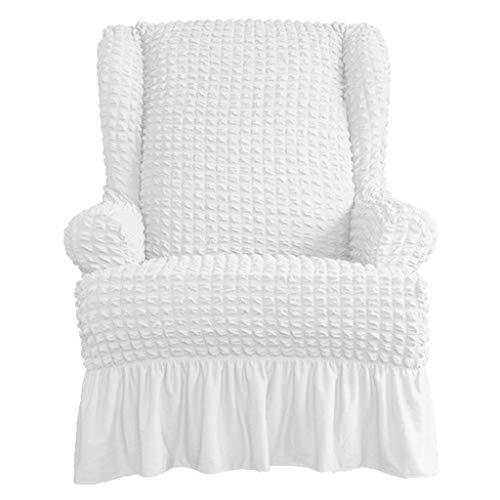 LOVIVER Sesselbezug mit Rüschen Sessel-Überwürfe Ohrensessel Überzug Sofabezug Stretchbezug Stretchhusse - Weiß