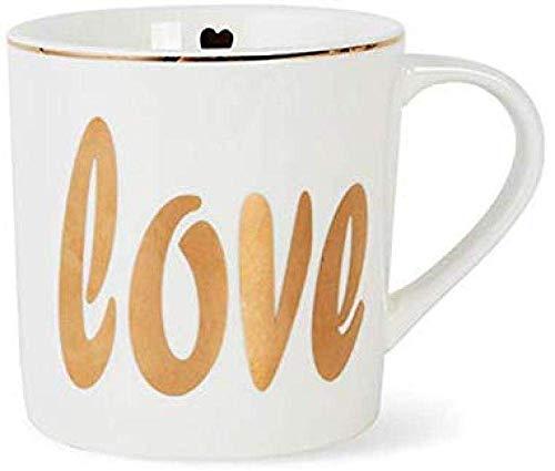ZKAIAI Taza Cerámica de Vidrio Pareja Taza de té de la Taza de café Regalo de la Taza Oficina Copa Desayuno Inicio - Amor 335ml Clásico