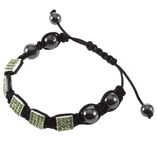 WEQQ Exquisita Pulsera de encantos de Amistad con Cuentas de Cristal de Estilo Cuadrado para Mujer (Verde)