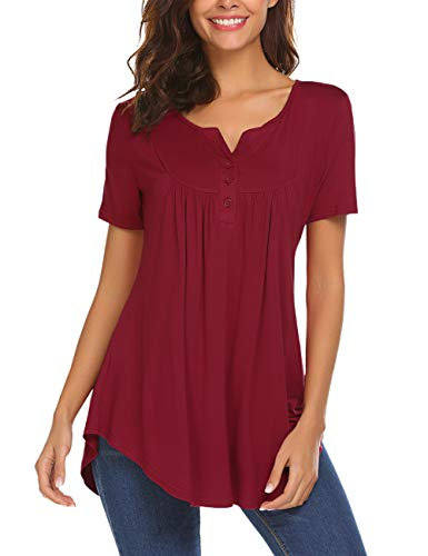 Summer Shirt Women's Henley V Neck Short Sleeve Loose Fitting Blouse Top Tee Wine Red XL