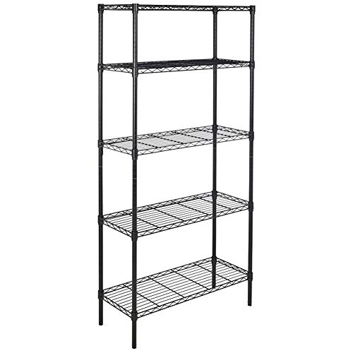 Holyfly 5-Shelf Heavy Duty Shelving Unit, Adjustable Metal Wire Shelves, Standing Storage Organizer Shelf Rack for Kitchen, Garage - NSF Certified (Metal Iron, 5 Tier Balck)
