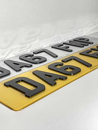 4D Number Plates Front and Rear - 3mm Black Acrylic