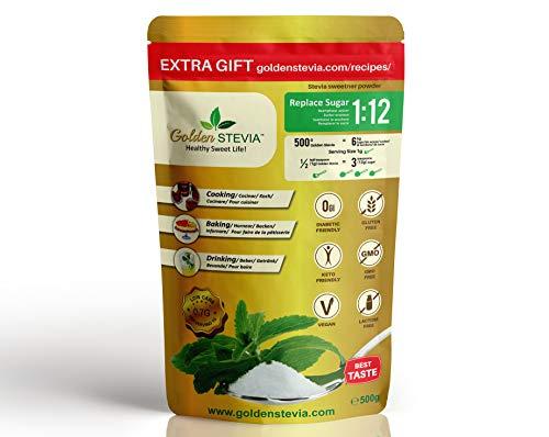 Dolcificante Golden Stevia in polvere 500g = 6kg, sostituto dello zucchero 1:12, deliziosamente dolce, ipocalorico, perfetto per diabetici, dieta chetogenica, cucina e cottura