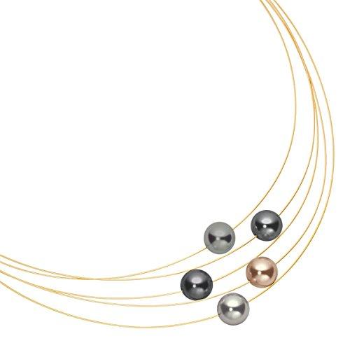 Heideman Halskette Damen Florere aus Edelstahl Gold farbend matt Kette für Frauen mit Swarovski Perle dunkel grau rund 10mm Perlenschmuck Brautschmuck