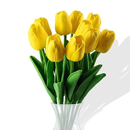 Flores de tulipán Artificiales,10 Piezas Real Touch Artificial Látex Tulipanes Flores Tulipanes Falsos Flores Ramos de Boda Flor Tulipán para Boda Hogar Jardín Decoración (Amarillo)