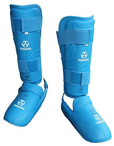 Hayashi Karate Schienbeinschutz und Spannschutz WKF (blau, XL)