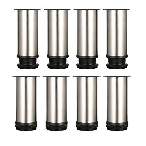 8 piezas Pies ajustables, Pies de gabinete de 120 mm de altura, patas de mesa, patas de muebles, acero inoxidable cepillado, altura ajustable de 0-15 cm, vienen con tornillos de acero inoxidable