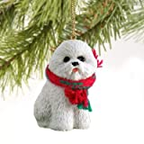 1 X Bichon Frise Miniature Dog Ornament