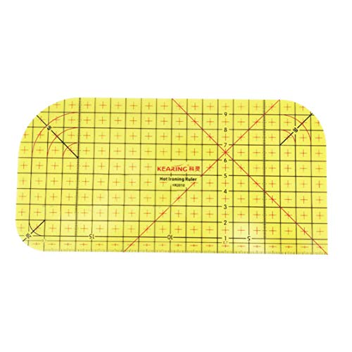 LHHA Heißbügellineal Patch Schneiderhandwerk, Hochtemperaturwiderstand Gebogene Ecke Quilting Lineal DIY Nähzubehör Messhandwerkzeug