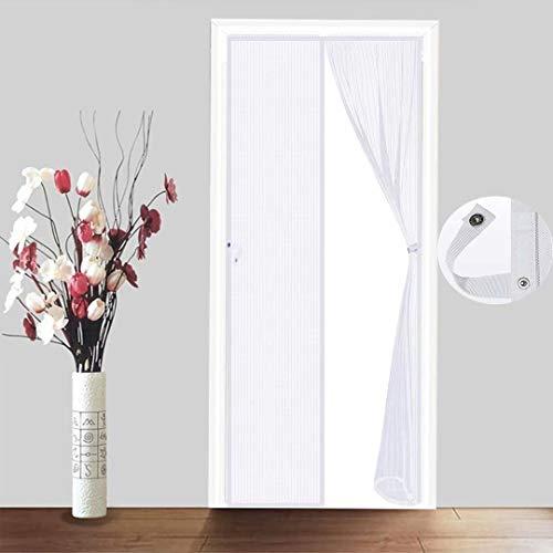 Cortina magnética para puerta, antiinsectos, mosquitos, moscas, patio, porche, exterior, balcón, malla, plegable, fácil de cerrar, color blanco, 95 x 235 cm