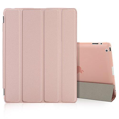Besdata iPad 2 3 4 Hülle Smart Cover Schutz Hülle Leder Tasche Etui für Apple iPad Ständer Sleep Wake mit Bildschirmschutzfolie Reinigungstuch Stift Rosa-Gold
