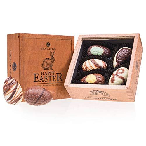 Egg Elegance Mini | 5 gefüllte Schokoladen-Ostereier| Ostergeschenk |Ostern Schokolade | Holzkästchen | Handgemacht | keine Konservierungsstoffe | aus erlesenen Zutaten | Schoko-Eier