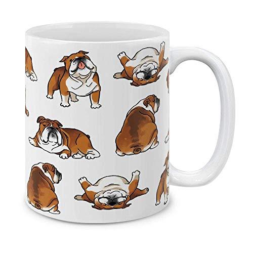 N\A Bulldog inglés Posturas Divertidas y juguetonas Taza de café de cerámica Taza de té, 11 oz