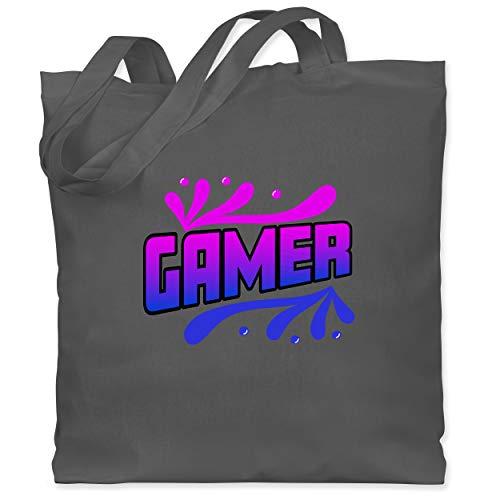 Shirtracer Nerds & Geeks - Gamer blau/pink - Unisize - Dunkelgrau - Geschenk - WM101 - Stoffbeutel aus Baumwolle Jutebeutel lange Henkel