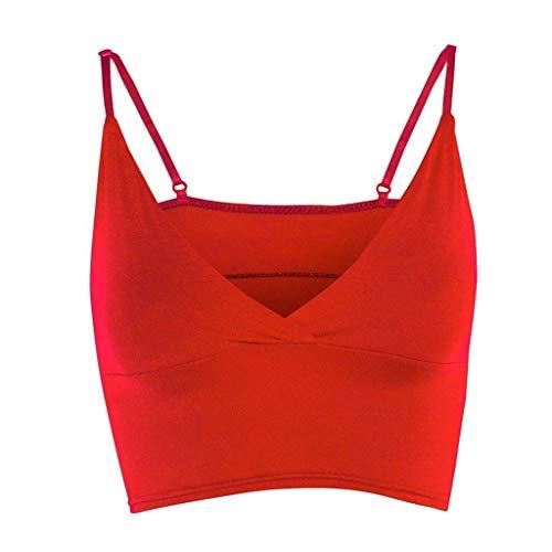 iYmitz Sommer Tanktops Damen Mädchen Tops Weste BH Ärmellos V-Ausschnitt Wrap Over Crop Top Heißer Bluse Solide Sports Yoga Camisole