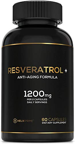41t8v0LtJtL - Resveratrol Supplement with Trans Resveratrol HELIX PRIME 1200mg Per Serving in 60 Capsules Vegetarian Antioxidant Promotes Anti Aging
