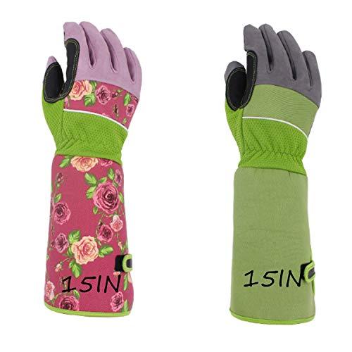 Gants de sécurité Gants d'élagage Rose pour hommes et femmes, gant anti-piqûres résistant aux perforations avec manchette à long manchon pour protéger les mains, meilleurs cadeaux et outils de jardina