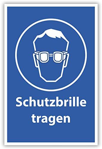 SCHILDER HIMMEL anpassbares Schutzbrille tragen Arbeitsschutz Schild DIN A4 29x21cm Alu-Verbund mit Schrauben, Nr 500 eigener Text/Bild verschiedene Größen/Materialien