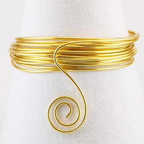 Vaessen Creative Redondo Alambre de Aluminio, Metal, Dorado (Light Gold), 2 mm 5 m