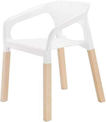 White Dining Chairs with Beech Wood Legs - Set of 4