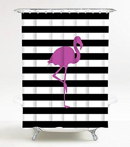 Duschvorhang Flamingo 180 x 180 cm, hochwertige Qualität, 100prozent Polyester, wasserdicht, Anti-Schimmel-Effekt, inkl. 12 Duschvorhangringe