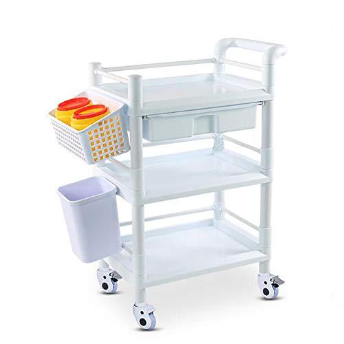 Allzweckwagen Kunststoffkosmetik-Trolley mit hoher Kapazität, 3-lagiger medizinischer Pflegewagen mit Mülleimer (Size : 54 × 37 × 93cm)