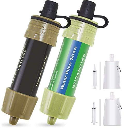 Lixada WasserFilter Stroh 2PCS Wasser Filtrationssystem Wasserreiniger zum Notfallvorsorge Camping Reisen