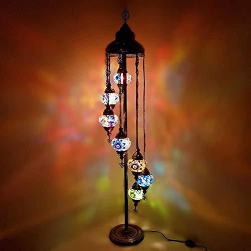 7 Kugel Handgefertigt Turkish Marokkanische Tiffany Stil Mix Glas Boden Lampe Nacht Lampe - Mc X 7B