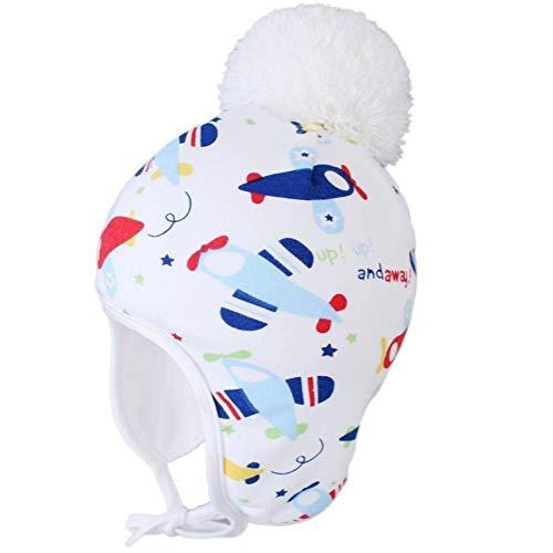 QQSA Herbst-Winter-nettes Karikatur-Auto-Kleinkind-Baby-kịnd-Warm-Schädel-Kappe gezeichnete Vlies mit Earflap Beanie-Hut mit Pom (Color : Plane, Size : M)