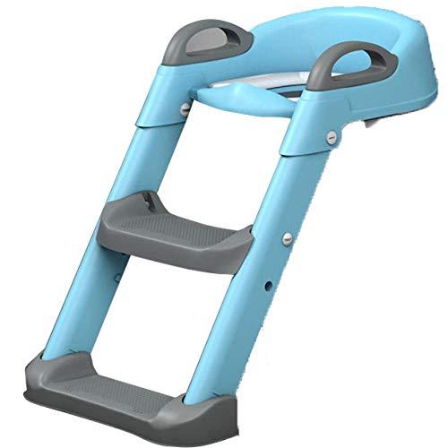 N \ A Azul Adaptador Aseo WC Adaptador con Escalera,Capacidad de Carga 60kg,Seguro, Antideslizante Adaptador para El WC para Niños Pequeños