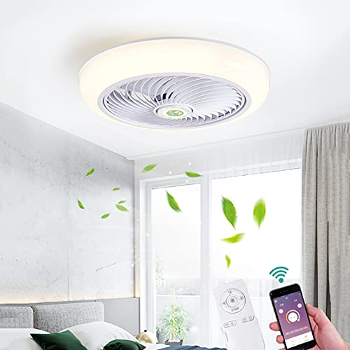 Silencioso LED Ventilador de Techo con Luz, Invisible Lámpara de Ventilador 36W Regulable Dormitorio Control Remoto APP Ventilador de Plafon 3 Velocidades Blanco Silencioso Salón Luz de Ventilador