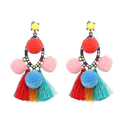 ZHJC Tassels Dangle Drop Earrings 1Pair Earring Women Tassels Simple Alloy Pendant Earrings Gift For Women And Girls Plush Ball Multi-color Optional Wedding, Date (Color : Pink, Size : Free size)