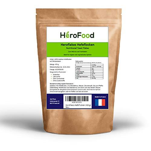 Heroflakes Hefeflocken - 450g Hefeflocken von HeroFood - Nutritional Yeast Flakes - Hefe Flocken Vegan - Veganer Käseersatz Glutenfrei - Vitamin Lebensmittel