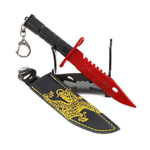 QIDUDZ M9 Stainless Steel Ruby Bayonet. Military Imitate. Desk Decoration Weapon Keychain Action Figure Arts Party Mini Key Rings Bag Pendant Backpack Learning Toys Gifts for Boys